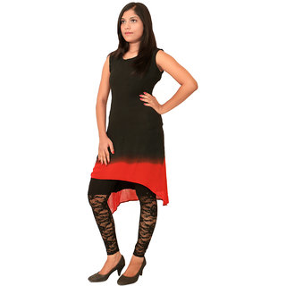 Black and Red Tail Cut Kurti
