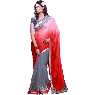 Nayonikaa Designer Georgette embroidered Grey half-sarees with Blouse piece