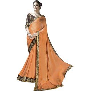Designer Orange embroidered satin saree with blouse piece