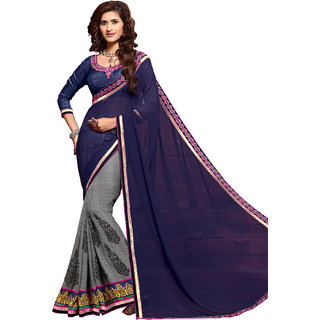 Nayonikaa Grey Georgette Embroidered Saree With Blouse