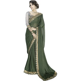 Designer Green embroidered satin saree with blouse piece