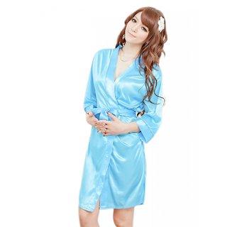 SPIRO Women's Blue Satin Robe