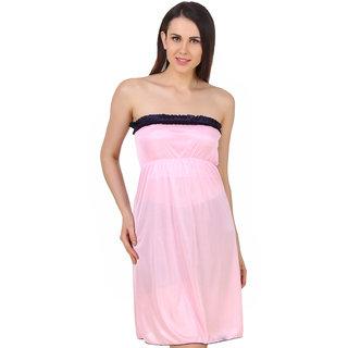 Fasense Women Satin Nightwear Sleepwear Off Sholder Short Nighty DP182 A