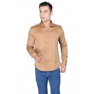 Donear NXG Casual Plain Full Sleeve Cotton Camel Shirt