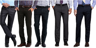 Combo of 5 Different Colors Formal Trousers For Men