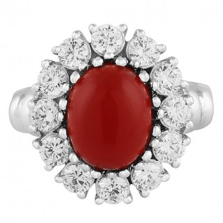 925 Sterling Silver Flower Shaped Ring Studded With Red Onyx By Allure