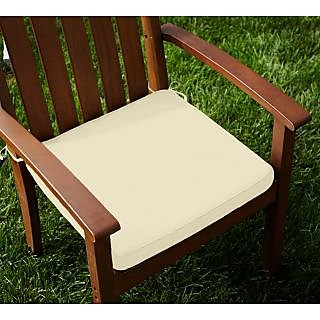 Lushomes Cotton Ecru Chair Pads with 4 Strings and Foam Filling (2 pcs)