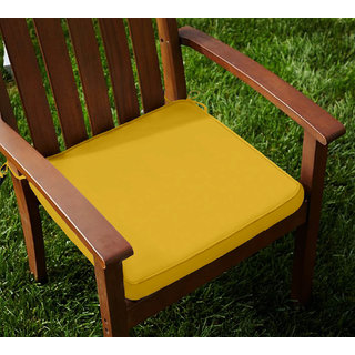 Lushomes Cotton Lemon Chrome Chair Pads with 4 Strings and Foam Filling (2 pcs)