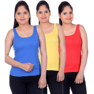 White Moon Camisoles and Vests 1500 - Pack of 3 (Royal Blue-Yellow-Red)