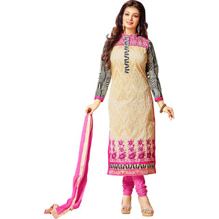 Sareemall Pink And Beige Cotton Embroidered Salwar Suit Dress Material (Unstitched)