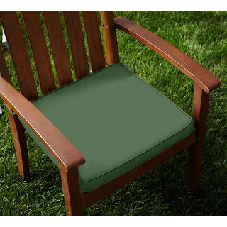 Lushomes Cotton Vineyard Green Chair Pads with 4 Strings and Foam Filling 2 pcs
