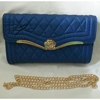 Rose Clutch Cum Sling Blue Color Bag For Woman