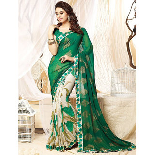 Thankar online trading Green Georgette Printed Saree With Blouse
