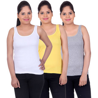 White Moon Camisoles and Vests 1500 - Pack of 3 (White-Yellow-Grey)