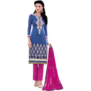 Sareemall Blue Cotton Embroidered Salwar Suit Dress Material