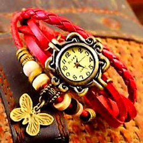 Vintage Beige Round Dial Red Leather Analog Watch For Women