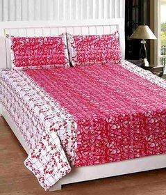Geonature Red Poly-Cotton 1 Double Bedsheet with 2 pillow cover (GGULAB11-2)