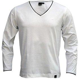 Rigo Smart White Full Sleves V Neck T Shirts