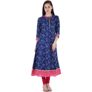 Prakhya Printed Womens Long Anarkali cotton kurta-SW877PINK