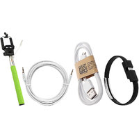 Combo Of Selfie Stick, Aux Wire, Data Cable And USB Band