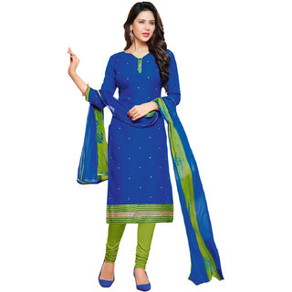 Sareemall Blue Jacquard Embroidered Salwar Suit Dress Material (Unstitched)