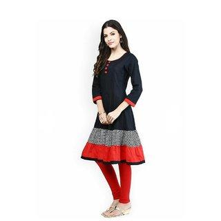 Black,Orange Cotton Anarkali Kurti For Women