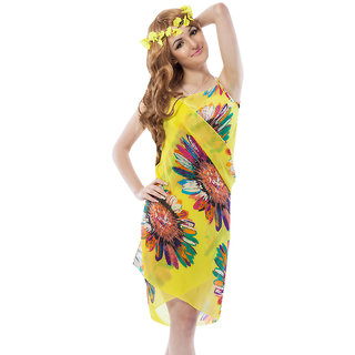Soothing Yellow Good-Looking Floral Sarong