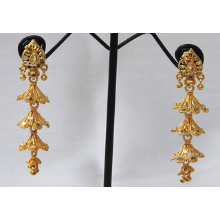 Long Golden Jhumka earring