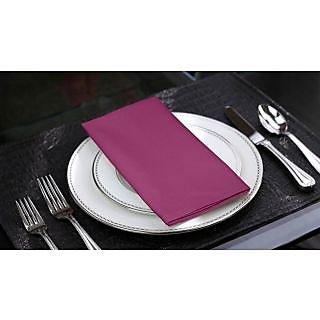 Lushomes Bordeaux Cotton Plain 6 Table Napkins Set (Dinner Napkins)