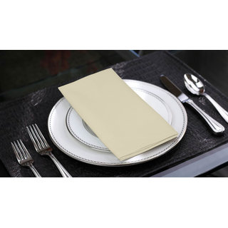 Lushomes Ecru Cotton Plain 6 Table Napkins Set (Dinner Napkins)