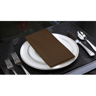 Lushomes French Roast Cotton Plain 6 Table Napkins Set (Dinner Napkins)