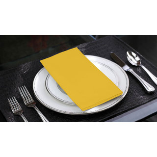 Lushomes Lemon Chrome Cotton Plain 6 Table Napkins Set (Dinner Napkins)