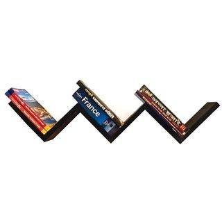 Desi Karigar Black Wooden Handmade W shaped Zigzag Book Shelf