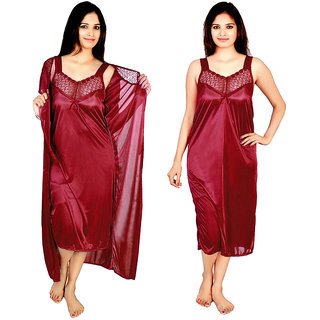 @rk Nating Night Dress Mahroon Color for Ladies