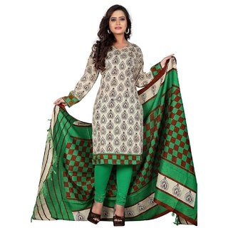 Clickedia Womens Cotton A line long white green Kurta