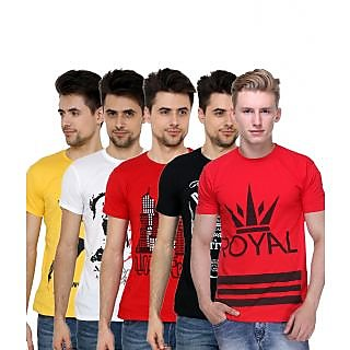 Grand Bear Men's Multicolor Round Neck T-Shirt (Pack of 5)