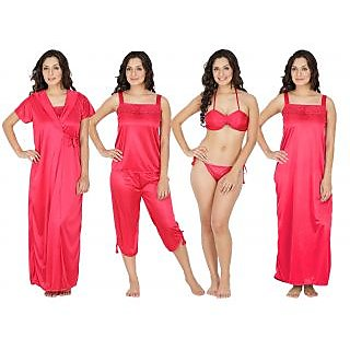 Klamotten Peach Satin Plain Nightwear (Pack of 5)