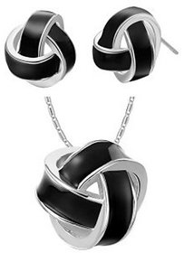 Ark Alloy Black Twist Classical Jewellery Set