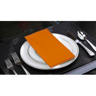 Lushomes Sun Orange  Cotton Plain 6 Table Napkins Set (Dinner Napkins)