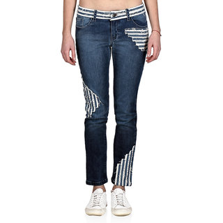 Indie Jeans WHITE SAND Slim Blue Stretchable Denim Jeans