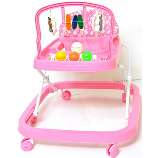 Baby Walker - Height Adjustable, Musical, Soft Cushion (Pink)