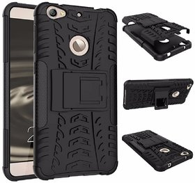 Heartly Flip Kick Stand Spider Hard Dual Rugged Armor Hybrid Bumper Back Case Cover For Letv Le 1S - Rugged Black