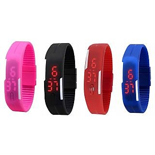 UNISEX led watch(combo of black+blue+red+pink)