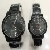 Couple Wrist Watch Men-women Set Black Crn Celebrity Lo