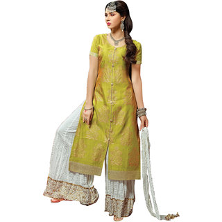 Sareemall Green Chanderi Printed Salwar Suit Dress Material