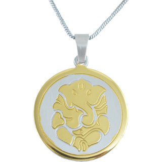 Diovanni Jai Shree Ganesh 24K Yellow Gold Plated Pendant And Silver-Plated Chain