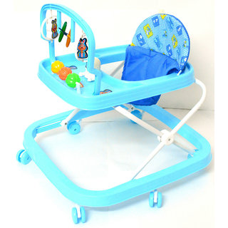 Baby Walker - Height Adjustable, Musical, Soft Cushion (Sky Blue)