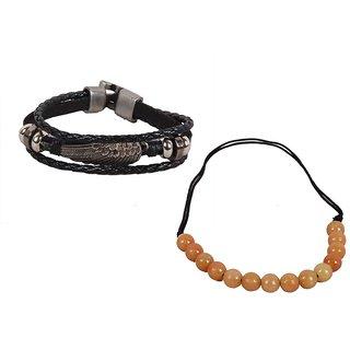 Sushito  Feather Deasign Black Wrist Band combo Men Necklace JSMFHWB0429
