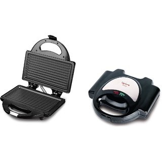 Lifelong Sandwich Maker (116 Griller Plate) Toast Grill (Black Stainless Steel)