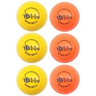 GIBBS Cricket WindBall Pack of 6 (3 Yellow ,3 Orange)